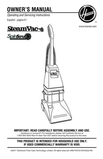 hoover steamvac spinscrub instructions