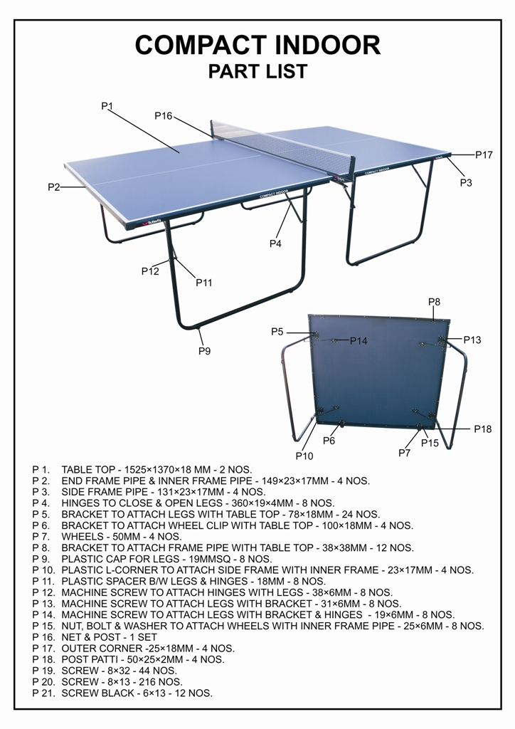 donnay table tennis table assembly instructions