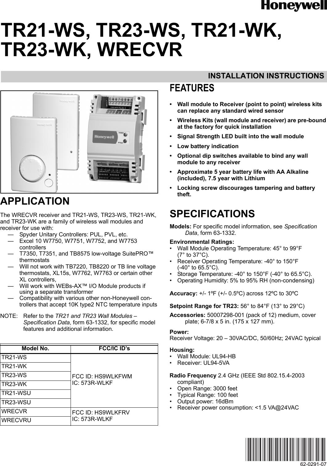 honeywell wireless thermostat instructions