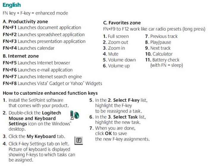 logitech s520 keyboard instructions